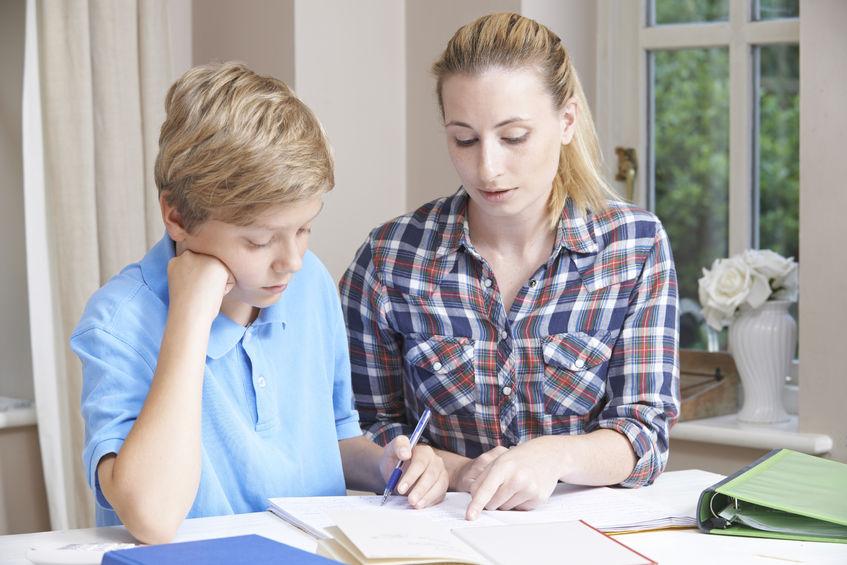 53826426 - female home tutor helping boy with studies