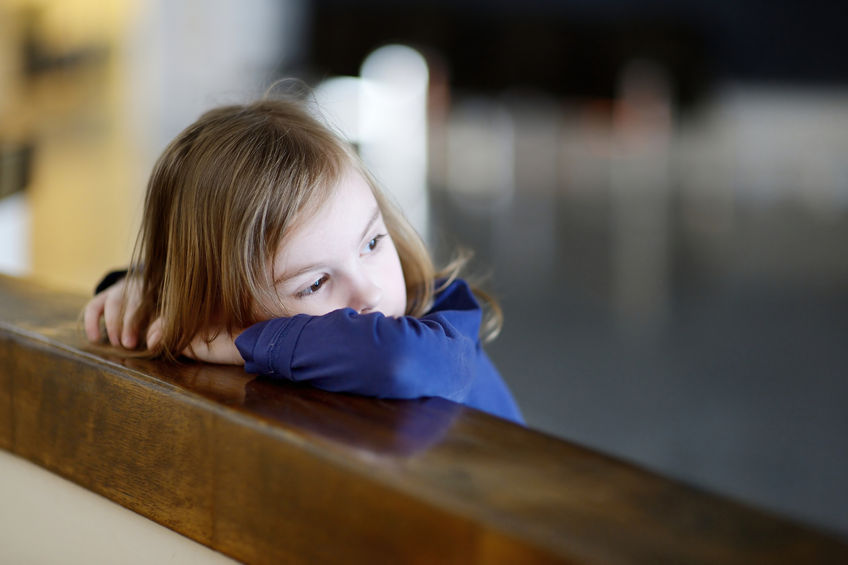 39679372 - thoughtful little girl portrait indoors