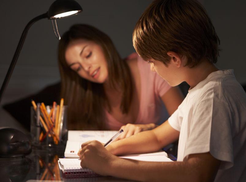 子供と勉強する母